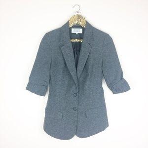 BB Dakota Douglas Tweed Blazer Ruched Sleeves
